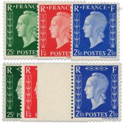 FRANCE N°701A À 701F TYPE MARIANNE DE DULAC, TIMBRES NEUFS**1942