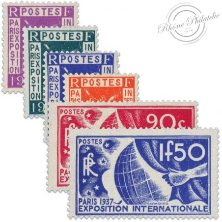 FRANCE N°322 À 327 EXPOSITION INTERNATIONALE DE PARIS, TIMBRES NEUFS-1936