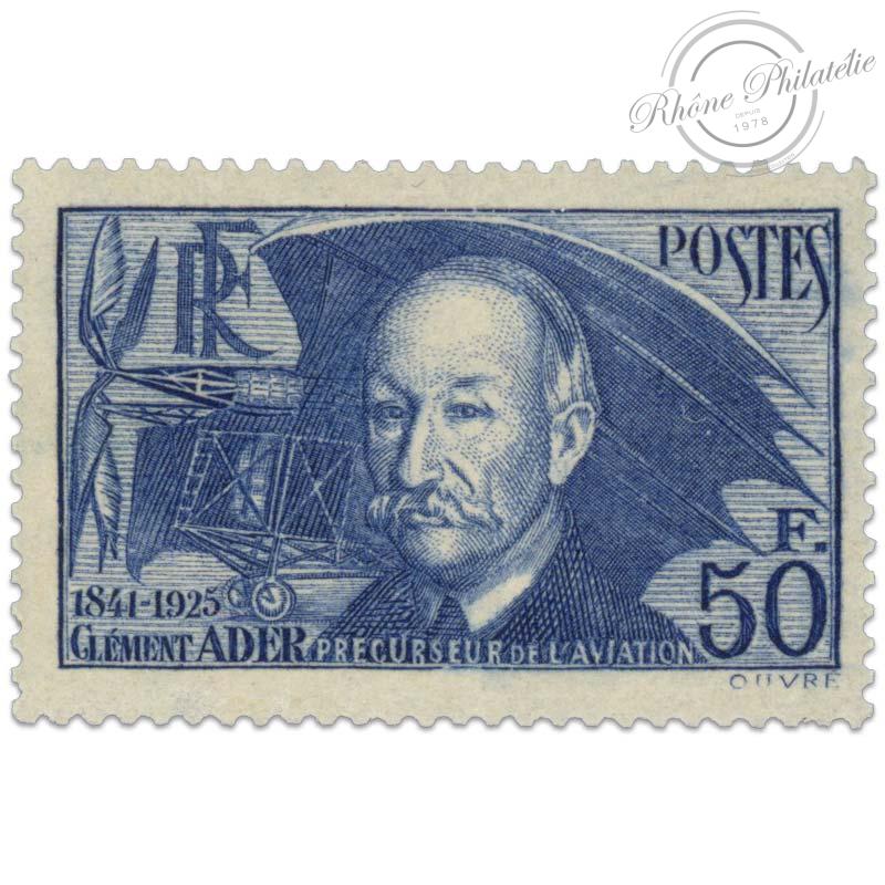 FRANCE N°398 CLEMENT ADER , TIMBRE DE QUALITÉ LUXE-1938