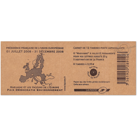 """CARNET """"MARIANNE ET LES VALEURS DE L'EUROPE"""" N°1516 COMPOSITION VARIABLE, MARIANNE DE BEAUJARD"""