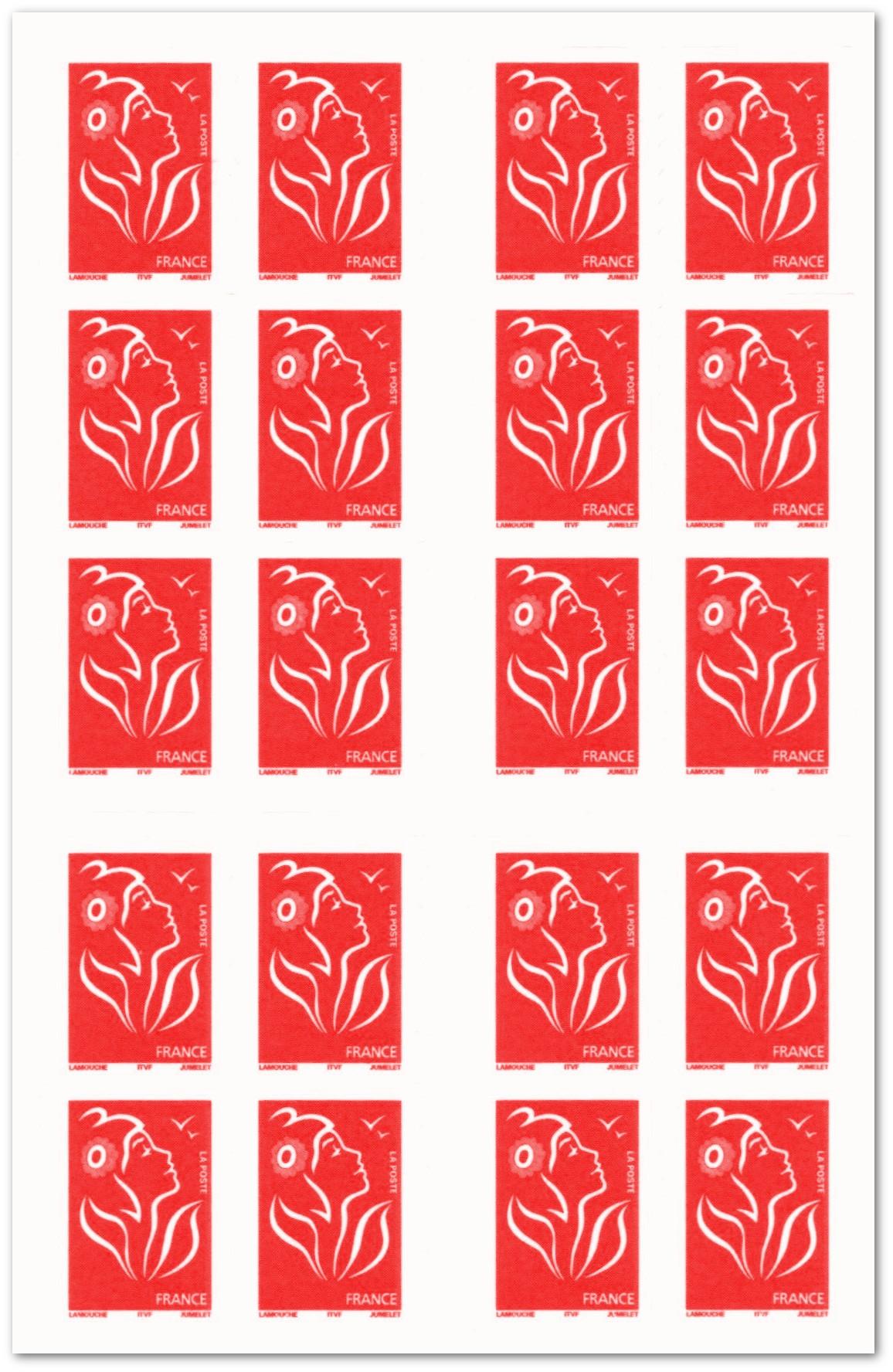 CARNET MARIANNE composé de 20 timbres poste autocollants