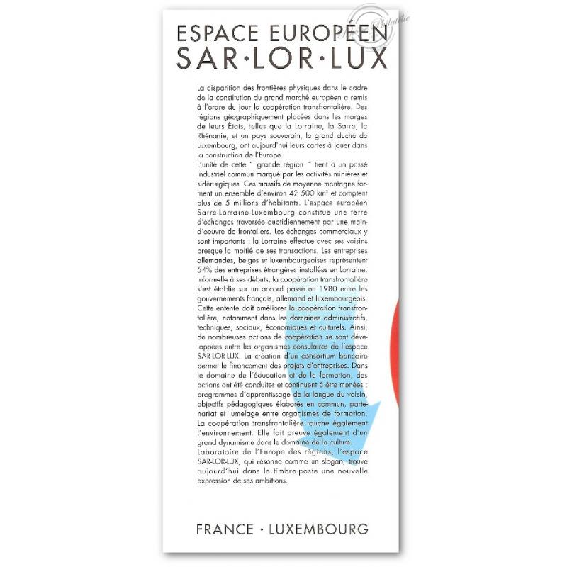 EMISSION COMMUNE (1997) LUXEMBOURG et  ALLEMAGNE : SAR.LOR.LUX. espace européen Sarre Lorraine Luxembourg