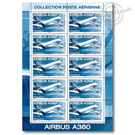 """PA N°_69 """"AIRBUS A380"""" 2006 LUXE feuille 10 timbres sous blister"""