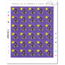 "FEUILLE ""COEURS 2010 LANVIN"", TIMBRES ST VALENTIN AUTOADHESIFS N°387"