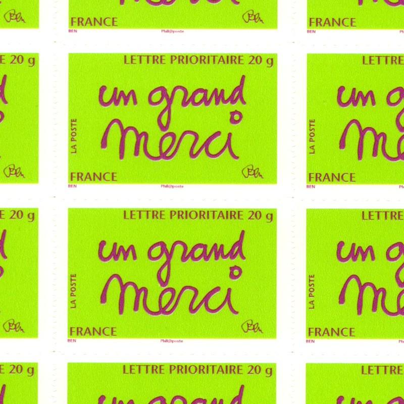 FEUILLE TIMBRES DE BEN composée de 50 timbres poste