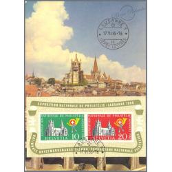 SUISSE BLOC N°15 OBLITERE 1ER JOUR SUR CARTE POSTALE 1955