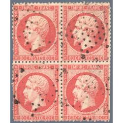 N°_32 TYPE NAPOLEON, BLOC DE 4 TIMBRES OBLITERES, 1867