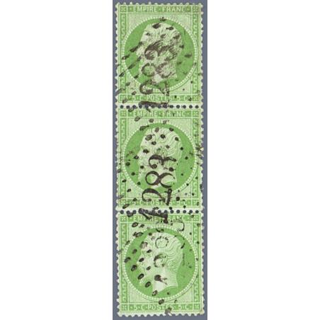 N°_35 TYPE NAPOLEON, BANDE DE 3 TIMBRES OBLITERES, 1871